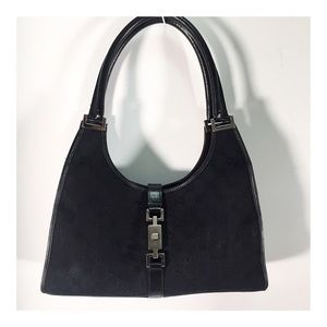 Gucci Black GG Signature Bardot Shoulder Bag